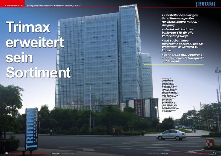 Firmen Report                       Messgeräte und Receiver Hersteller Trimax, China                                      ...