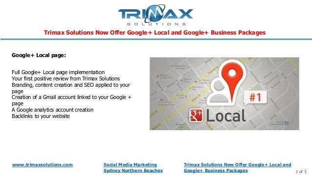 Trimax solutions now offer google+ local and google+ business packages