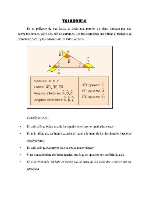 TRIÁNGULO Es un polígono de tres lados, es decir, una porción de plano limitada por tres segmentos unidos, dos a dos, por ...