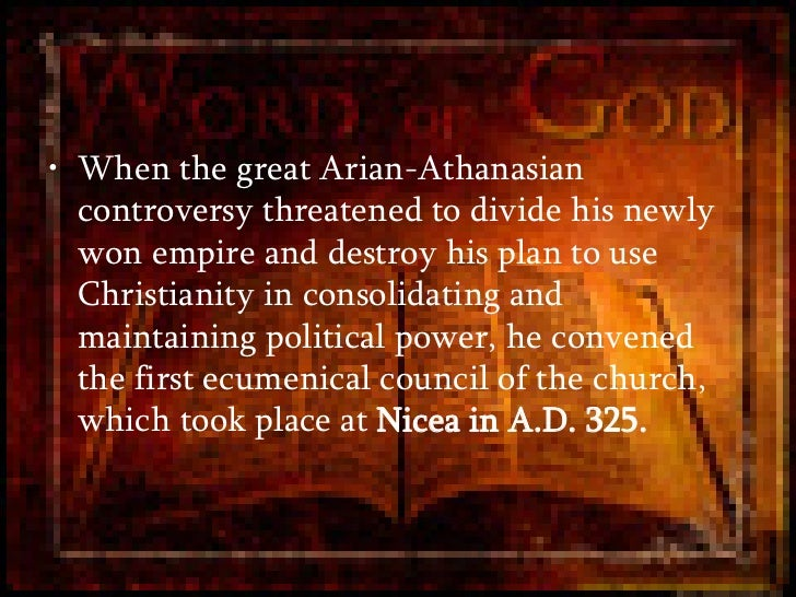 the arian controversy and the importance of the council of nicea The events leading to and including the council of nicea under the arian controversy this section addresses everything that's important about nicea.