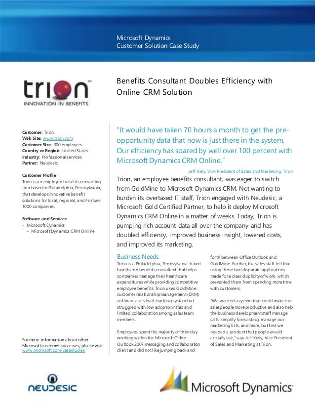 Trion Doubled Efficiency and Improved Business Insight with Microsoft Dynamics CRM Online Case Study