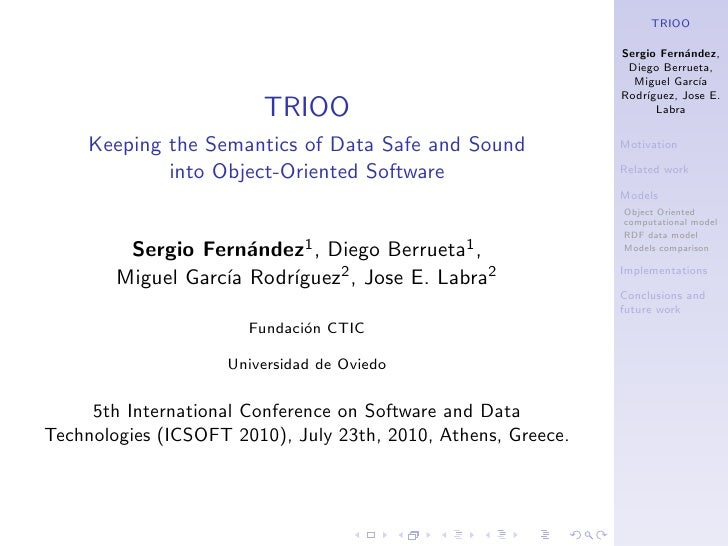 TRIOO, Keeping the Semantics of Data Safe and Sound into Object-Oriented Software