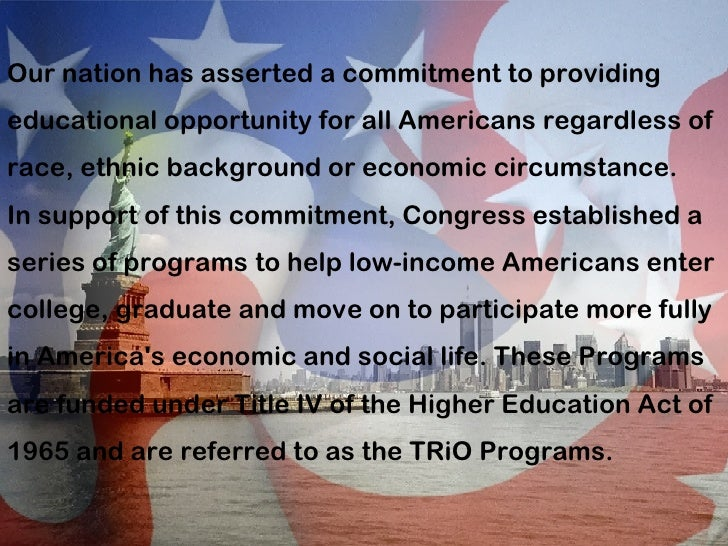Our nation has asserted a commitment to providing educational opportunity for all Americans regardless of race, ethnic bac...