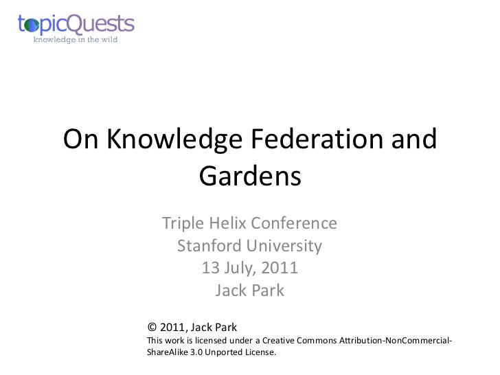 On Knowledge Federation and         Gardens         Triple Helix Conference           Stanford University               13...