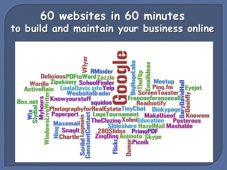 60 websites in 60 minutes<br />to build and maintain your business online<br />