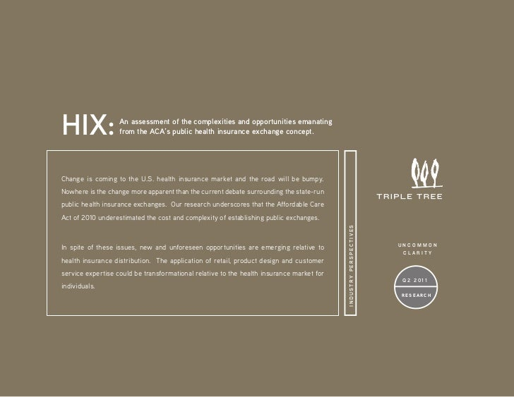 HIX:               An assessment of the complexities and opportunities emanating                   from the ACA's public h...