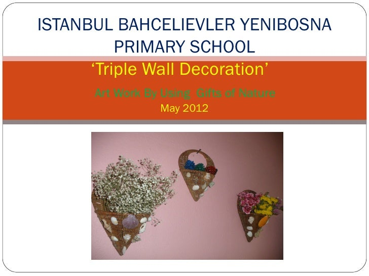 ISTANBUL BAHCELIEVLER YENIBOSNA          PRIMARY SCHOOL      'Triple Wall Decoration'      Art Work By Using Gifts of Natu...