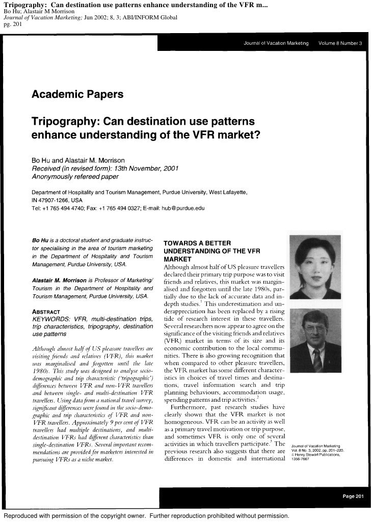 Tripography: Can destination use patterns enhance understanding of the VFR m... Bo Hu; Alastair M Morrison Journal of Vaca...