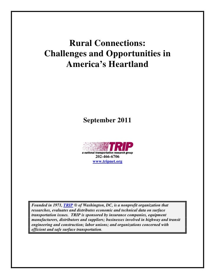 Rural Connections:       Challenges and Opportunities in            America's Heartland                             Septem...