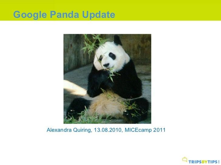 Google Panda Update Alexandra Quiring, 13.08.2010, MICEcamp 2011