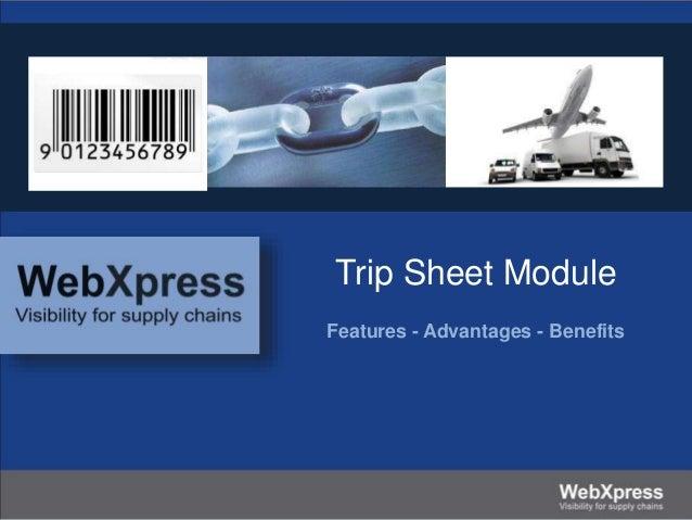 Trip Sheet Module Features - Advantages - Benefits