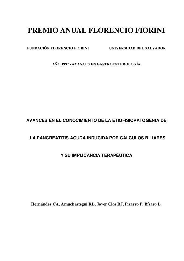 PREMIO ANUAL FLORENCIO FIORINIFUNDACIÓN FLORENCIO FIORINI             UNIVERSIDAD DEL SALVADOR           AÑO 1997 - AVANCE...