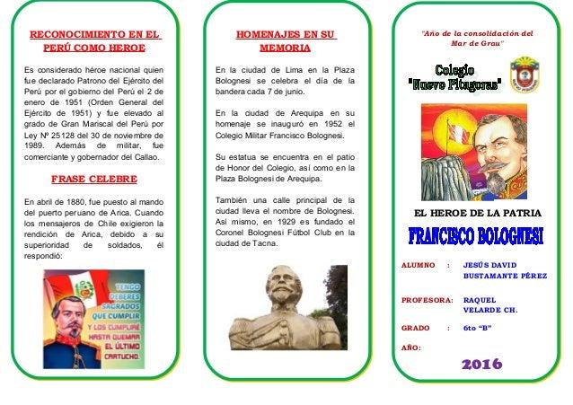 resumen de la biografia de francisco bolognesi triptico