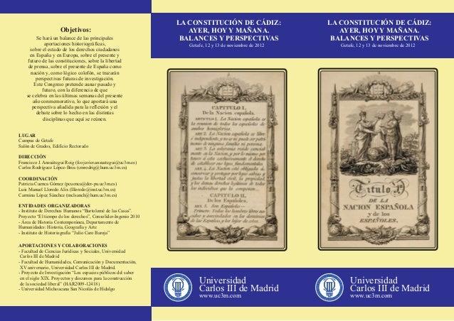 """Triptico Congreso Internacional """"La Constitución de Cádiz, ayer, hoy y mañana.Balances y perspectivas"""