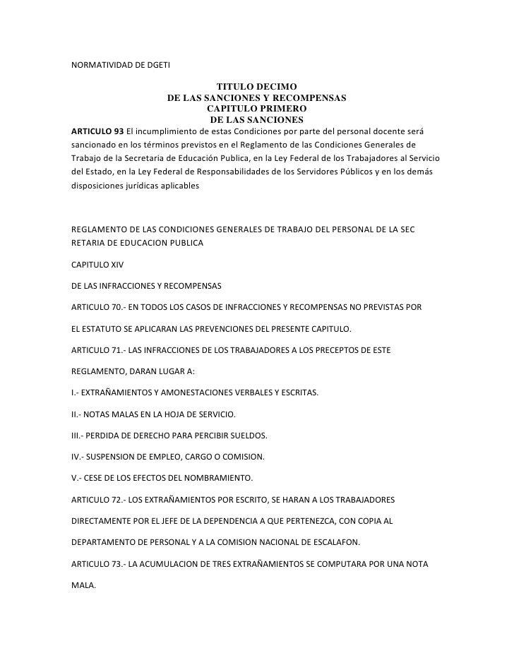 NORMATIVIDAD DE DGETI                                     TITULO DECIMO                         DE LAS SANCIONES Y RECOMPE...