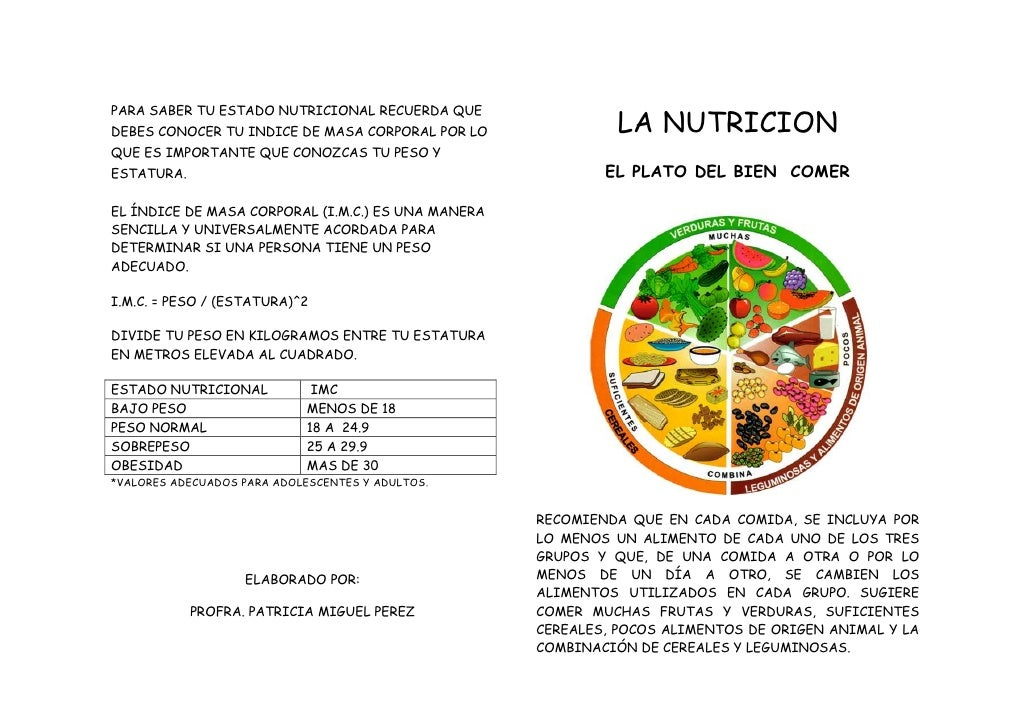 PARA SABER TU ESTADO NUTRICIONAL RECUERDA QUEDEBES CONOCER TU INDICE