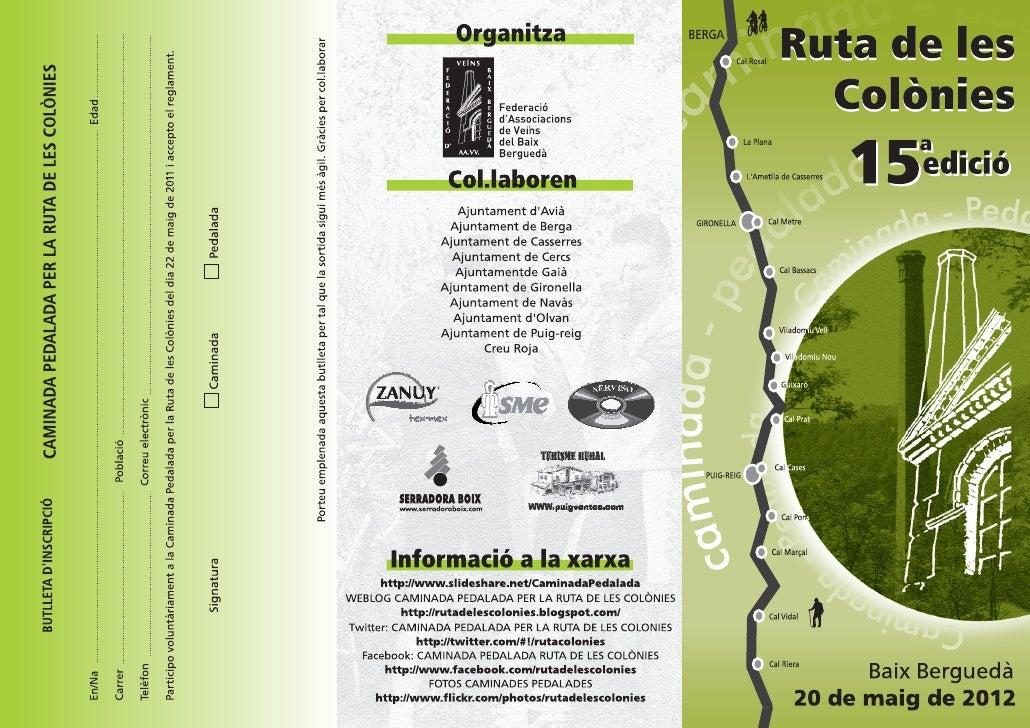 Triptic Caminada-Pedalada Ruta de les colònies 2012