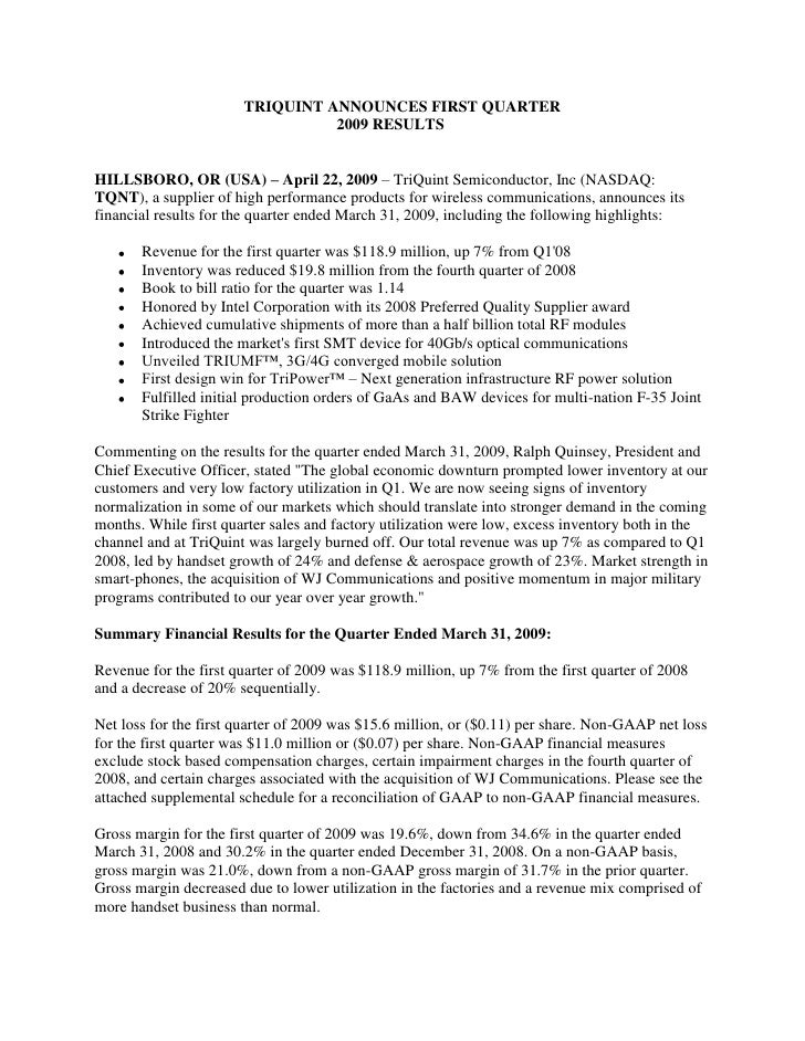 TRIQUINT ANNOUNCES FIRST QUARTER                                  2009 RESULTS   HILLSBORO, OR (USA) – April 22, 2009 – Tr...