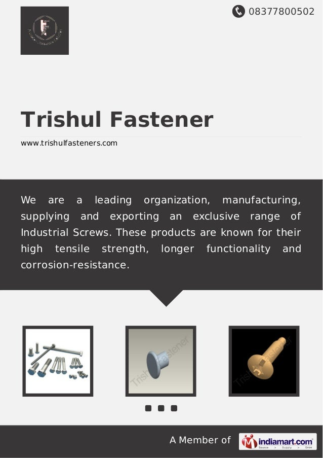 08377800502 A Member of Trishul Fastener www.trishulfasteners.com We are a leading organization, manufacturing, supplying ...