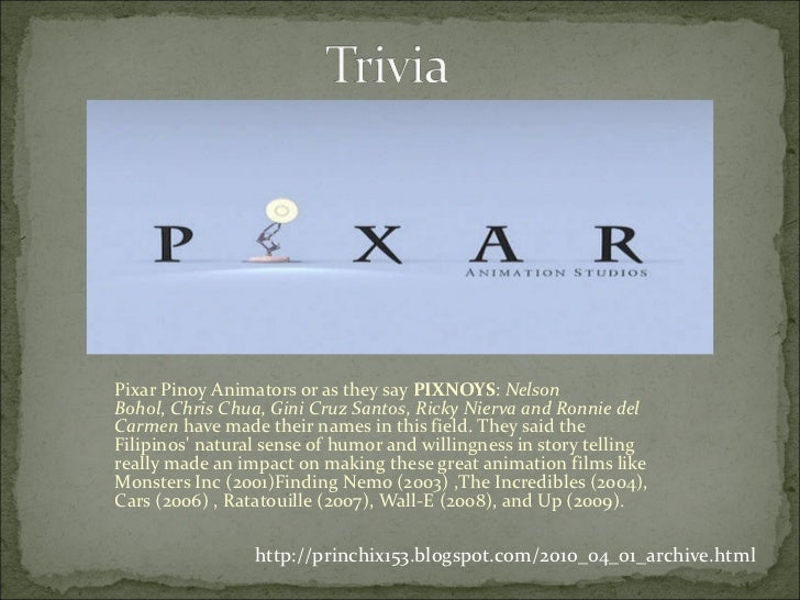 Pixar Pinoy Animators or as they say  PIXNOYS :  Nelson Bohol ,  Chris Chua, Gini Cruz Santos, Ricky Nierva and Ronnie del...