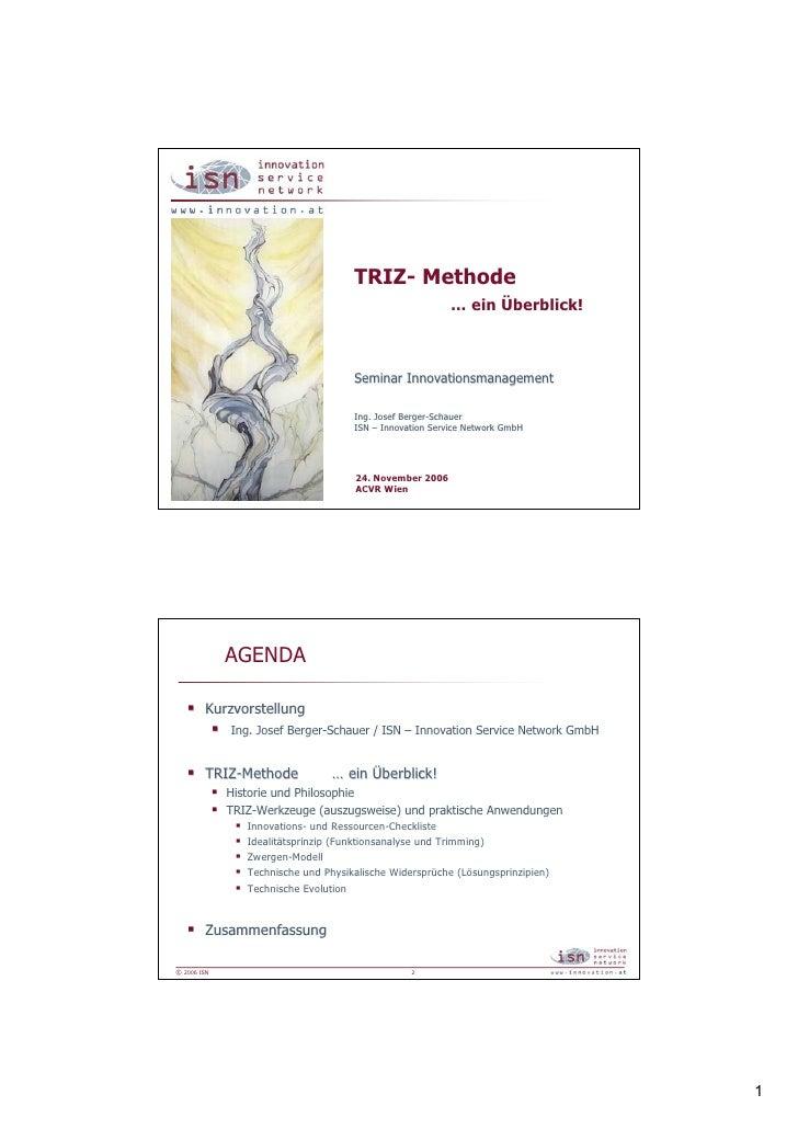TRIZ- Methode                                                           … ein Überblick!                                  ...