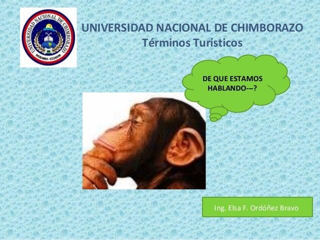UNIVERSIDAD NACIONAL DE CHIMBORAZO Términos Turísticos DE QUE ESTAMOS HABLANDO---? Ing. Elsa F. Ordóñez Bravo