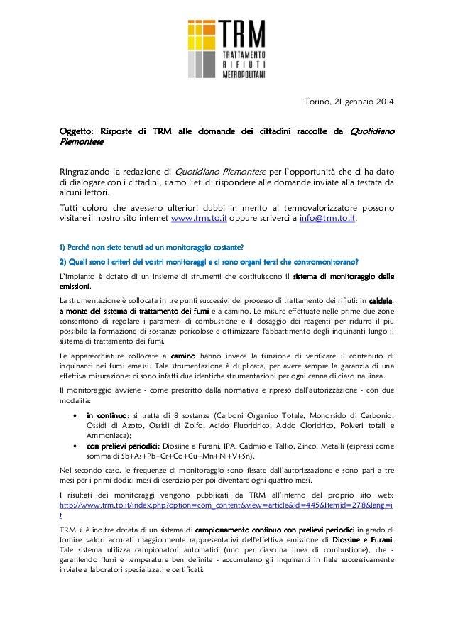 Torino, 21 gennaio 2014  Oggetto: Risposte di TRM alle domande dei cittadini raccolte da Quotidiano  Piemontese Ringrazian...
