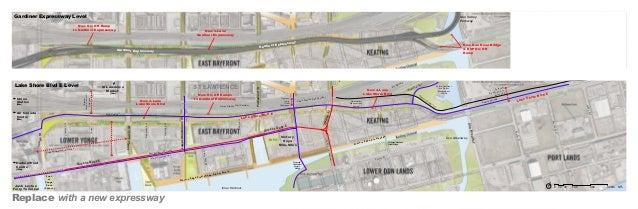 Gardiner Expressway Level  Don Valley Parkway  New On/ Off Ramp to Gardiner Expressway  New 4-Lane Gardiner Expressway  rd...