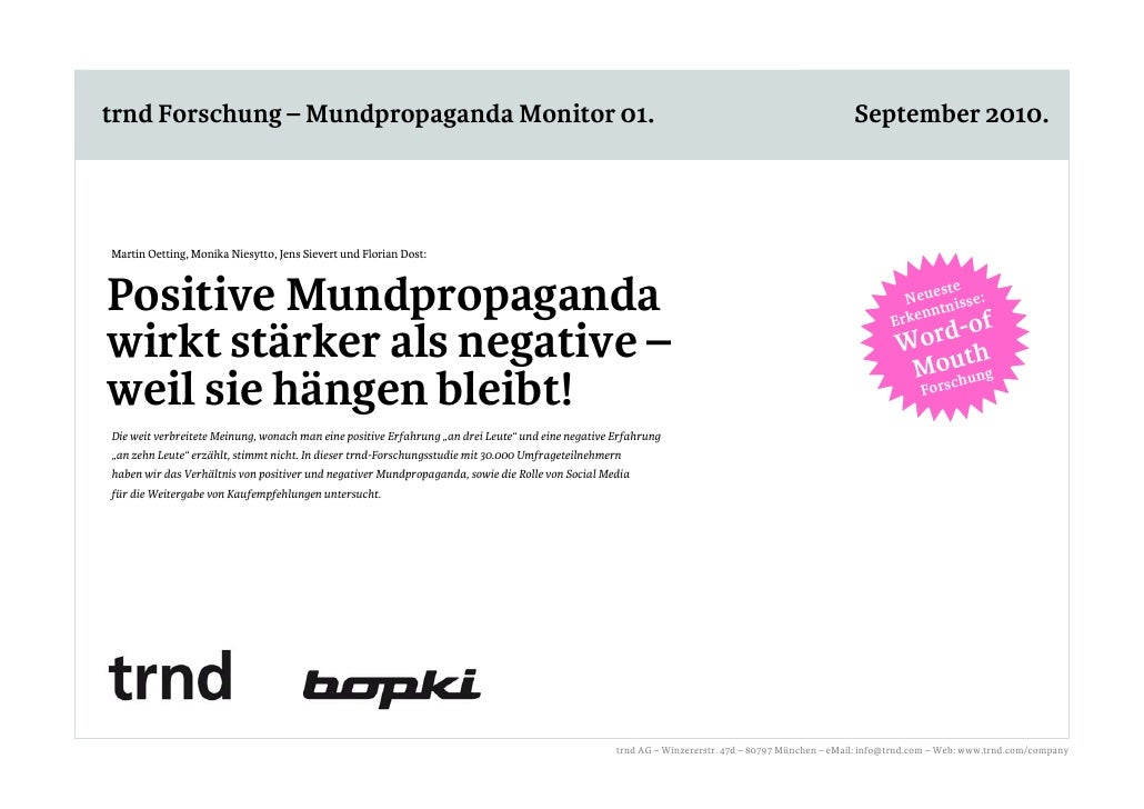 trnd Forschung – Mundpropaganda Monitor 01 trnd Forschung – Mundpropaganda Monitor 01.                                    ...