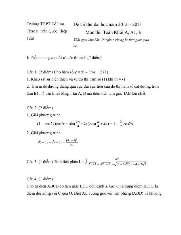 Thi thử ĐH THPT Cổ Loa 2013, khối A, A1, B