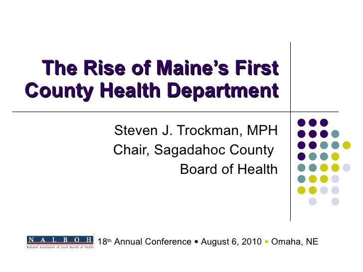 The Rise of Maine\'s First County Health Department