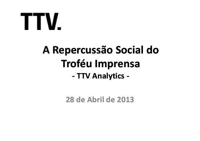 A Repercussão Social doA Repercussão Social doTroféu ImprensaTroféu Imprensa-- TTVTTV AnalyticsAnalytics ---- TTVTTV Analy...