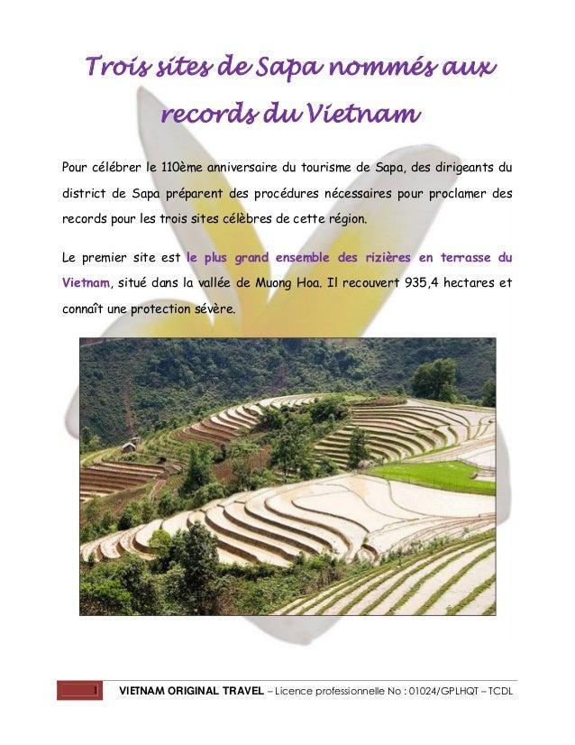 1 VIETNAM ORIGINAL TRAVEL – Licence professionnelle No : 01024/GPLHQT – TCDL Trois sites de Sapa nommés aux records du Vie...