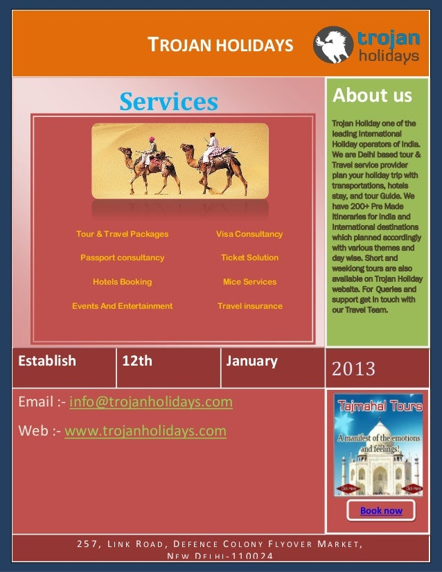 TROJAN HOLIDAYS About us  Services  Tour & Travel Packages  Visa Consultancy  Passport consultancy  Ticket Solution  Hotel...
