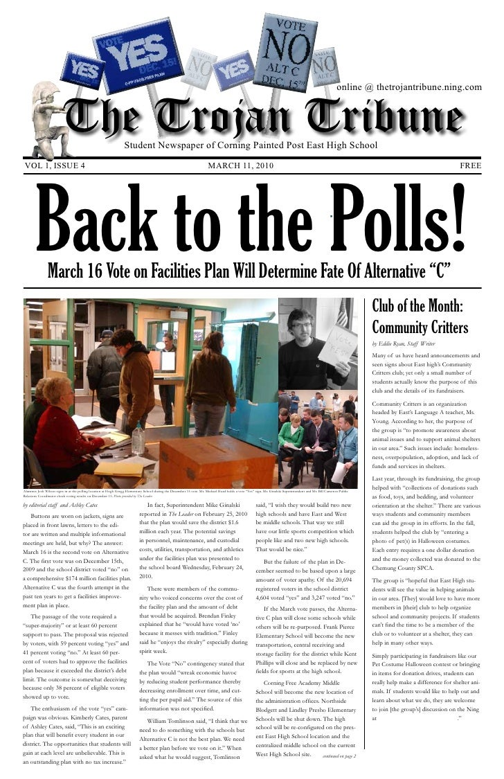 online @ thetrojantribune.ning.com                            The Trojan Tribune                       Student Newspaper o...