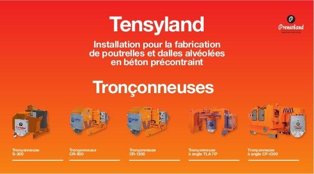 Tensyland Installation pour la fabrication de poutrelles et dalles alvéolées en béton précontraint  Tronçonneuses  Tronçon...