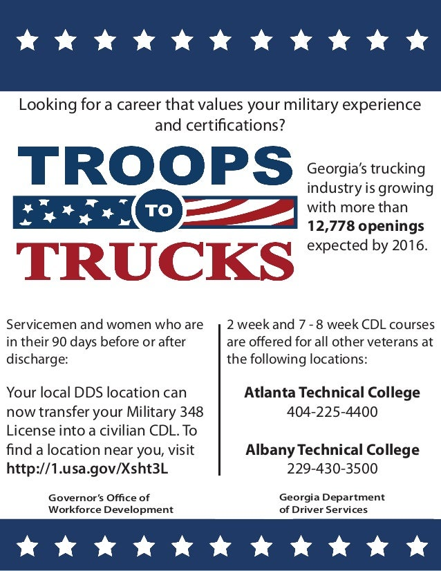 Troops to Trucks...Interested in getting your FREE Commercial Driver's License?