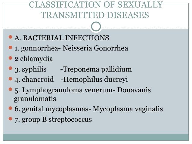 Chlamydia, condyloma acuminatum, Trichomonas vaginalis, and herpes 1 (genital) 2