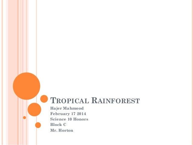 TROPICAL RAINFOREST Hajer Mahmood February 17 2014 Science 10 Honors Block C Mr. Horton