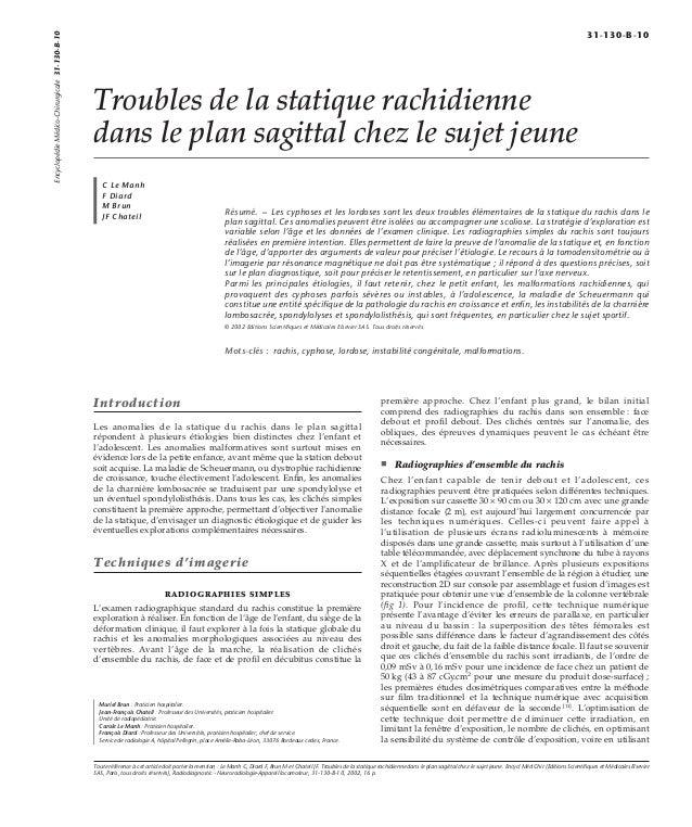 Troubles de la statique rachidienne  dans le plan sagittal chez le sujet jeune  C Le Manh  F Diard  M Brun  JF Chateil Rés...