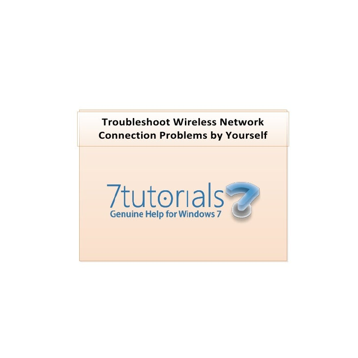 Troubleshoot Wireless NetworkConnection Problems by Yourself