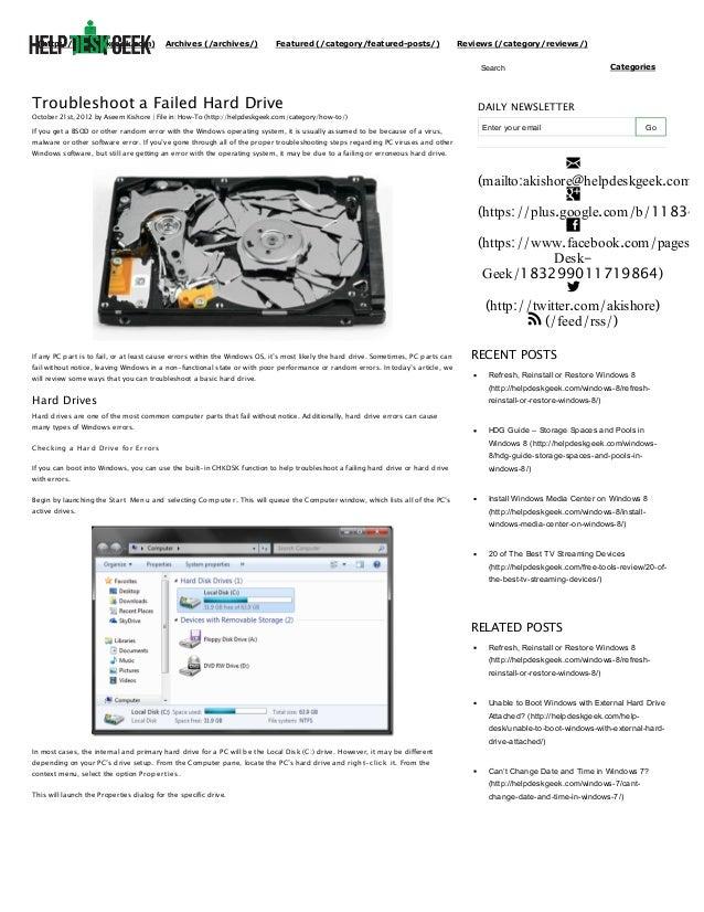 Troubleshoot a failed hard drive   help desk geek