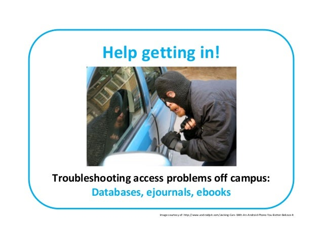 Help getting in! Troubleshooting access problems off campus: Databases, ejournals, ebooks Image courtesy of: http://www.an...