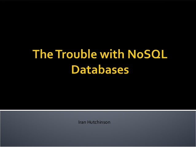 Trouble with nosql_dbs
