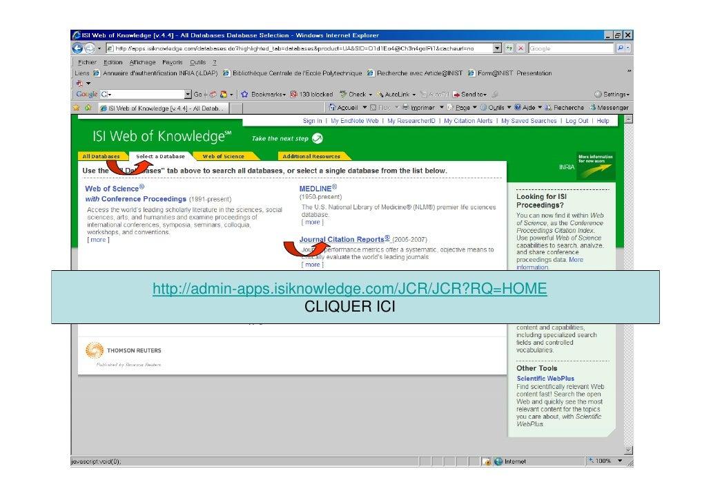Service IST INRIA Paris - Rocquencourt     http://admin-apps.isiknowledge.com/JCR/JCR?RQ=HOME                        CLIQU...