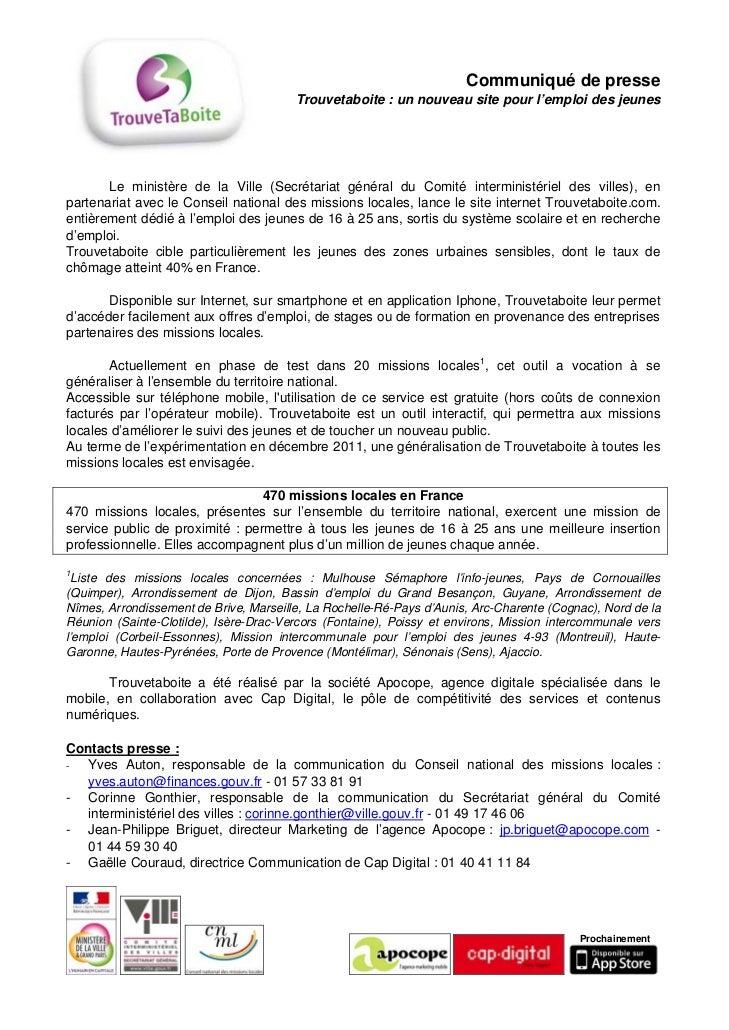 Communiqué de presse                                        Trouvetaboite : un nouveau site pour l'emploi des jeunes      ...