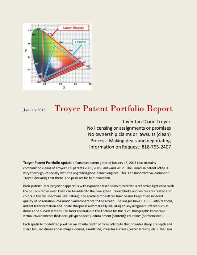 January 2013         Troyer Patent Portfolio Report                                                              Inventor:...