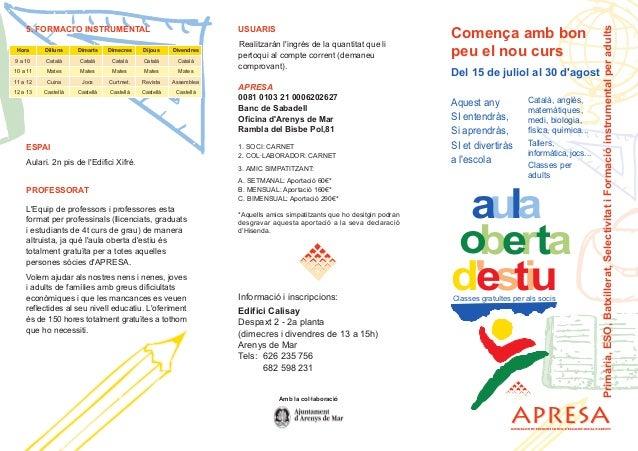 Hora Dilluns Dimarts Dimecres Dijous Divendres 9 a 10 Català Català Català Català Català 10 a 11 Mates Mates Mates Mates M...
