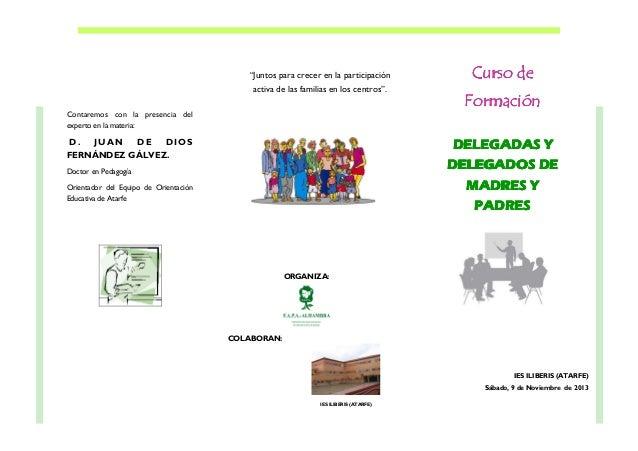 """""""Juntos para crecer en la participación activa de las familias en los centros"""".  Curso de Formación  Contaremos con la pre..."""