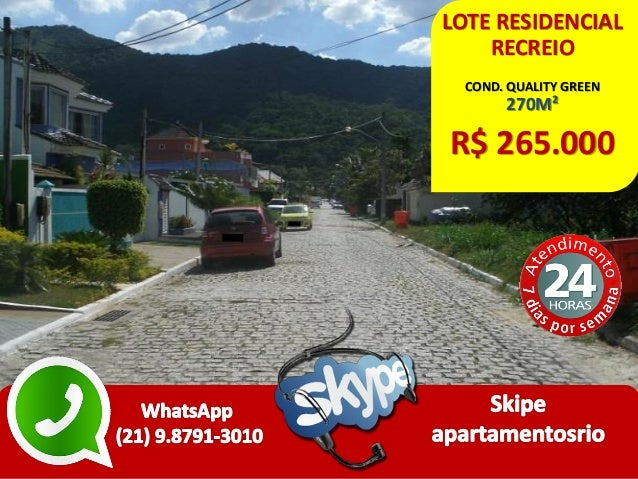 LOTE RESIDENCIAL RECREIO COND. QUALITY GREEN 270M² R$ 265.000